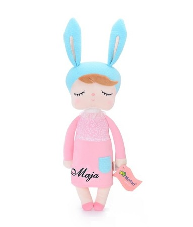 Metoo Angela Personalized Bunny Doll in Pink Dress with Gift Bag