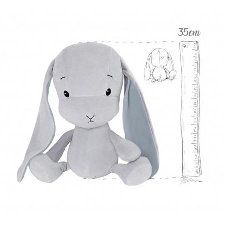 Effik Królik M personalizowany - Szary z Niebieskimi uszami 35 cm