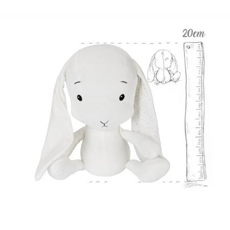 Effik Królik S personalizowany - Biały + kropki Małgosia Socha 20 cm